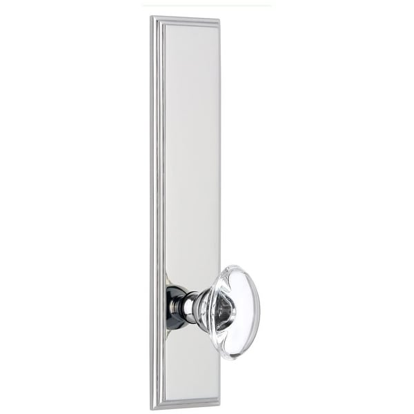 """Grandeur CARPRO_TP_PSG_234 Carre Solid Brass Tall Plate Rose Passage Door Knob Set with Provence Crystal Knob and 2-3/4"""""""