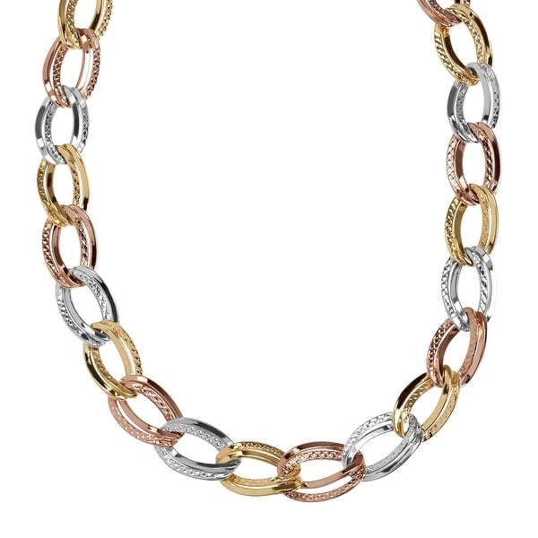 Just Gold Double Open Oval Link Chain Necklace in 14K Three-Tone Gold, 18""