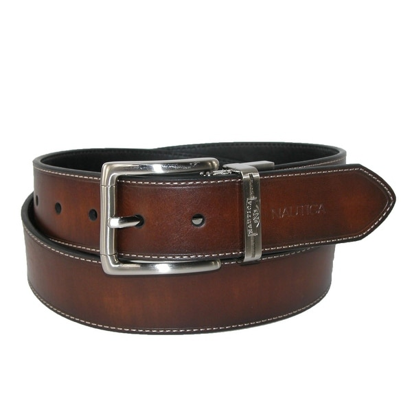 Nautica Men's Reversible Belt with Heat Crease and Contrast Stitch