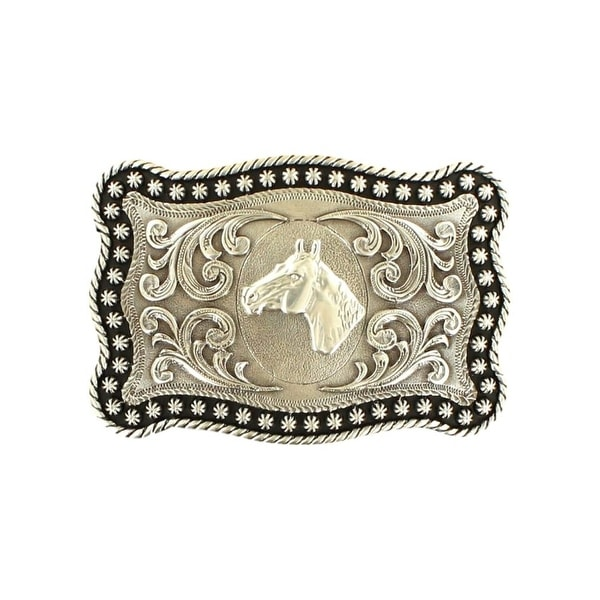"Nocona Western Belt Buckle Horseheads Stars rope Silver - 3 7/8"" x 2 3/4"""