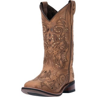 "Laredo Western Boots Womens 11"" Ulays Broad Toe Ulays Brown 5643"