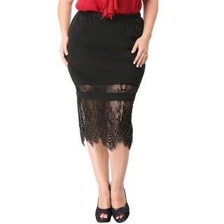 Allegra K Women's Plus Size Lace Hem Paneled Slim Fit Skirt - Black