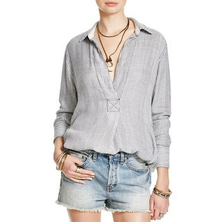 Free People Womens On The Road Casual Top Striped Hi-Low Hem