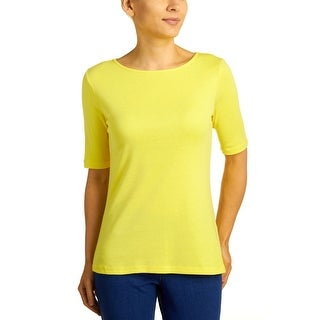 Cable & Gauge Women's Boat Neck Elbow Sleeve Tee