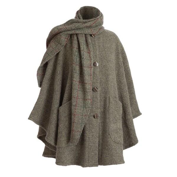 Women's Clare Cape - Wool Alpaca Button Down Jacket with Scarf - Medium