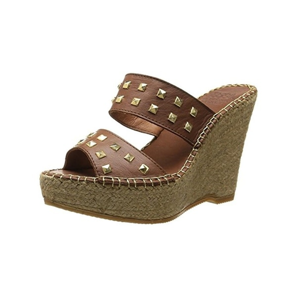 Andre Assous Womens Bally Wedge Sandals Leather Studded