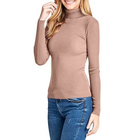 NE PEOPLE Womens Simple Ribbed Detailed Long Sleeve Turtleneck Shirt