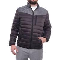 INC International Concepts Color-Blocked Zip Front Puffer Jacket Men Caviar Coat