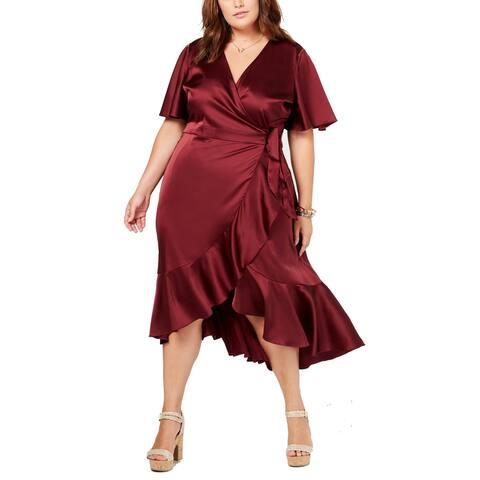 Soprano Women's Trendy Plus Size Flounce Wrap Dress, (Red 2X)