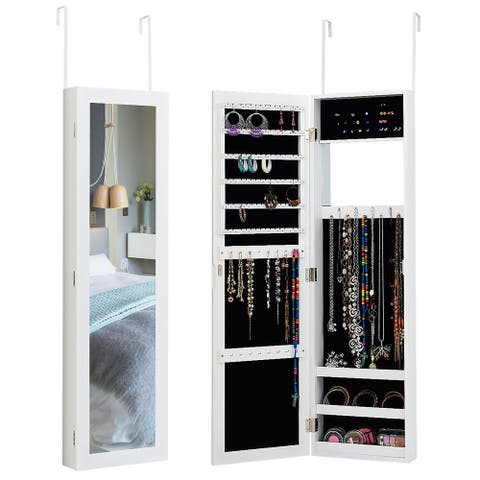 Wall Door Mounted Jewelry Organizer with Mirror