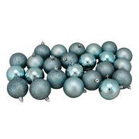 "24ct Mermaid Blue Shatterproof 4-Finish Christmas Ball Ornaments 2.5"" (60mm)"