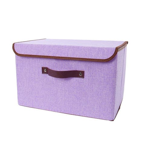 Foldable Fabric Storage Bin Box Cube Organizer with Lid & Faux Leather Handles