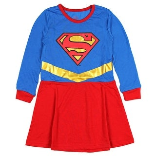 DC Comics Supergirl Little Girls Long Sleeve Blue and Red Roller Derby Nightgown