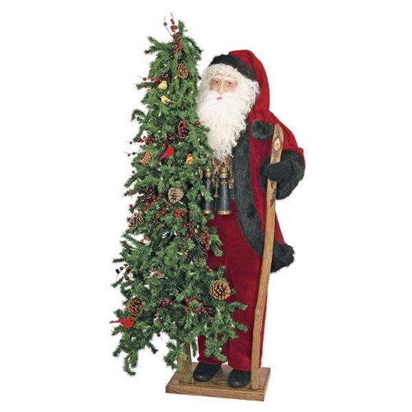 "57"" Father Christmas Santa Birdwatcher with Pre-Lit Tree - Clear LED Lights"