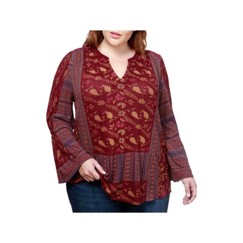 Lucky Brand Womens Plus Peasant Top Embroidered Bell Sleeves