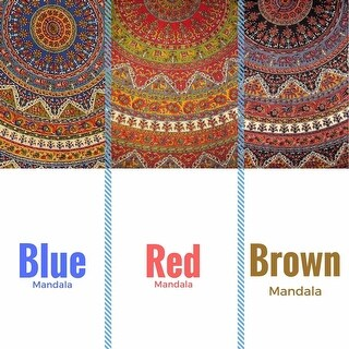 "Handmade Mandala Floral and Elephant Printed Cotton Tablecloth available in Red Blue & Brown in two sizes 76"" Round & 90"" Round (More options available)"