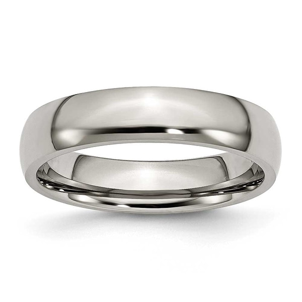 Chisel Rounded Polished Titanium Ring (5.0 mm)