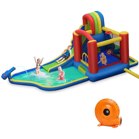 Costway Inflatable Kid Bounce House Slide Climbing Splash Pool Jumping