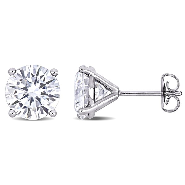 Miadora 4ct DEW Moissanite Solitaire Stud Earrings in 14k White Gold. Opens flyout.