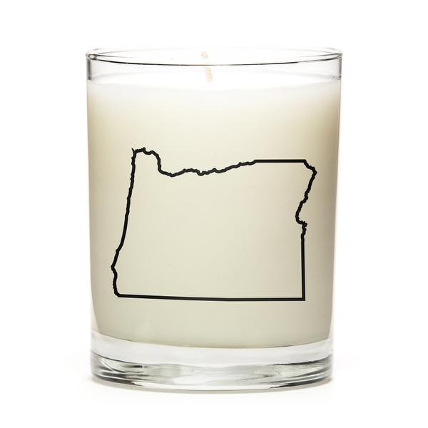 Custom Candles with the Map Outline Oregon, Fresh Linen