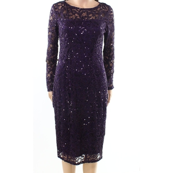 Marina NEW Purple Womens Size 6 Sequin Lace Illusion Sheath Dress