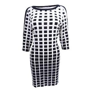 Sandra Darren Women's Petite Geo-print Sheath Dress - Black/Ivory - 14