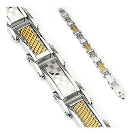 Stainless Steel Bracelet with Checker & Gold Wire Links (16 mm) - 8.75 in