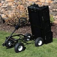 Sunnydaze Dumping Utility Cart with Folding Sides and Liner Set - Black