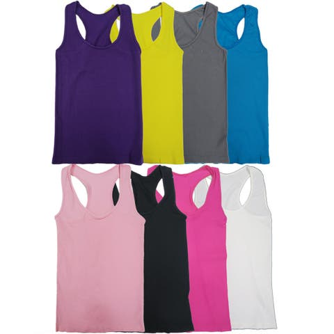 e53a0cca02 Women s Seamless Solid Color Racer-back Tank Tops (6 ...