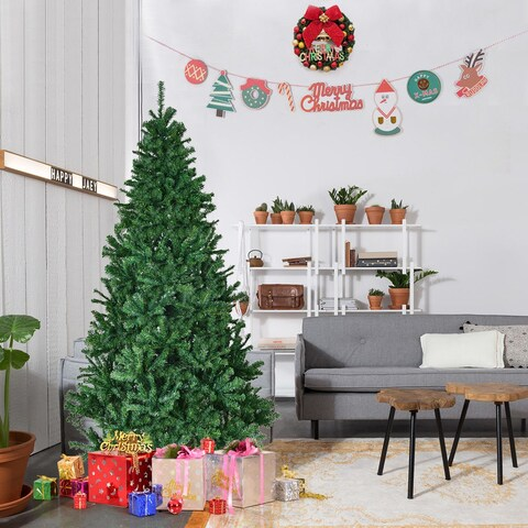 Gymax 6' Artificial Christmas Tree 1000 Tips PVC Needles Premium Hinged Metal stand