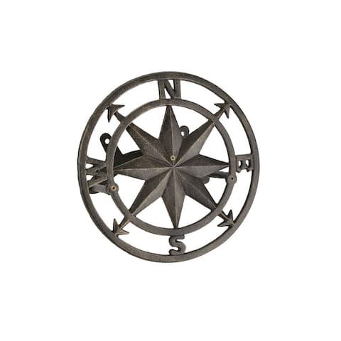 Cast Iron Compass Rose Wall Mounted Decorative Hanging Garden Hose Holder Bronze - 5.5 X 12 X 12 inches