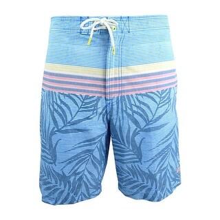 Tommy Bahama Men's Baja Fronds & Stripes Board Shorts - dockside blue