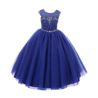 Rain Kids Girls Royal Blue Sequin Rhinestone Tulle Pageant Dress