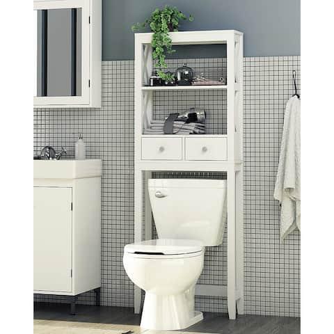 Spirich Home Modern X- Frame Bathroom Shelf Over The Toilet, Bathroom Shelf with Two Drawers, Bathroom Spacesaver, White Finish