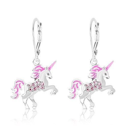 New White Gold Tone Pink Enamel Unicorn Crystal Silver Leverback Kids Earrings