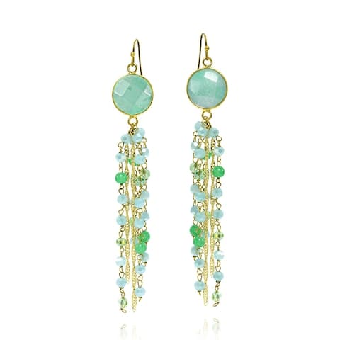 Handmade Enchanted Howlite Stone with Pearls and Crystals Tassel Dangle Earrings (Thailand)