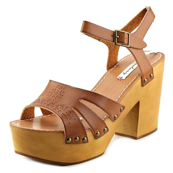 Coolway Cassandra Women Open Toe Leather Tan Platform Sandal