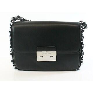 Michael Kors NEW Black Silver Leather Large Piper Flap Shoulder Bag
