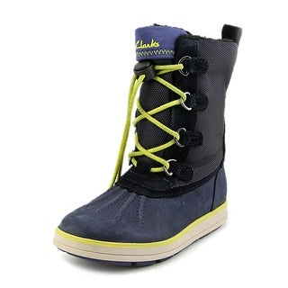 Clarks Syd Up Gtx Youth Round Toe Leather Blue Winter Boot