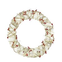 "18"" Pre-Lit Burlap and Berry Rattan Artificial Christmas Wreath - Clear Lights - brown"