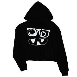 Monster With Glasses Womens Black Crop Hoodie