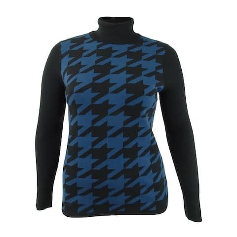 Anne Klein Women's Houndstooth Turtleneck Sweater (L, Anne Black/Spruce)