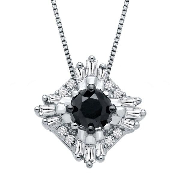 3/8 ct Black & White Diamond Pendant in 10K White Gold