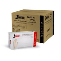 1st Choice Clear Latex Disposable Gloves, Case of 1000 - Industrial, Powder Free, Value Series - ivory