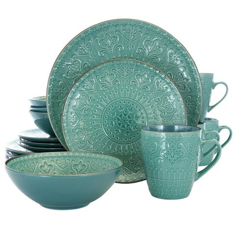 Elama Deep Ocean Mandala 16 Pc Round Stoneware Dinnerware Set in Green
