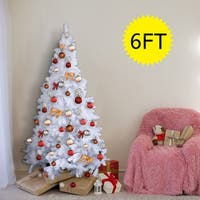 Costway 6Ft Artificial PVC Christmas Tree W/Stand Holiday Season Indoor Outdoor White