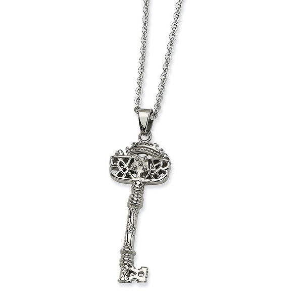 Chisel Stainless Steel Fancy Key Pendant 22 Inch Necklace (2 mm) - 22 in