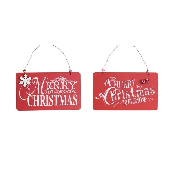 Club Pack of 12 Red and White Merry Christmas Hanging Wall Signs 4""
