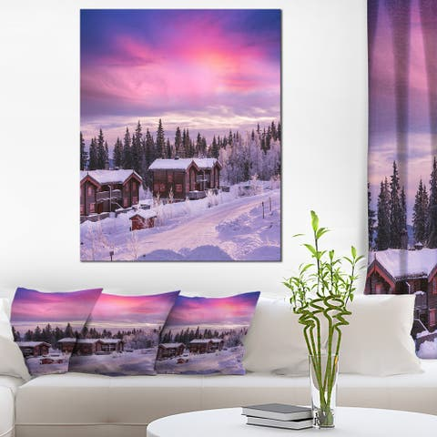 Designart 'Frosty Winter Resorts in Forest' Landscape Wall Art on Canvas