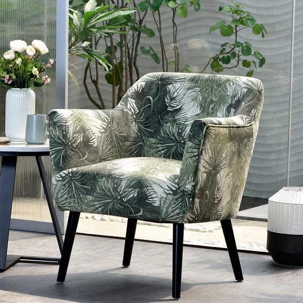 Shop Ovios Accent Chairs For Living Room Floral Print Armchair For Bedroom Tufted Cloud Chair Modern Comfy Side Chair With Metal Leg On Sale Overstock 31579813